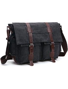 [Gesponsert]LOSMILE Herren Umhängetasche Schultertasche 16 Zoll Kuriertasche Canvas Laptop Tasche Messenger Bag für Arbeit...