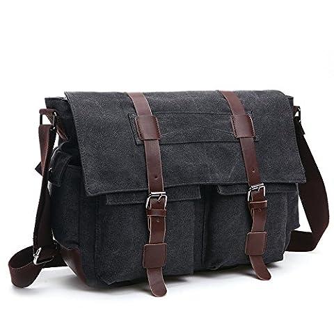 LOSMILE Herren Umhängetasche Schultertasche 16 Zoll Kuriertasche Canvas Laptop Tasche Messenger Bag für Arbeit und Schule. (L, (Zwei Taschen Hobo)