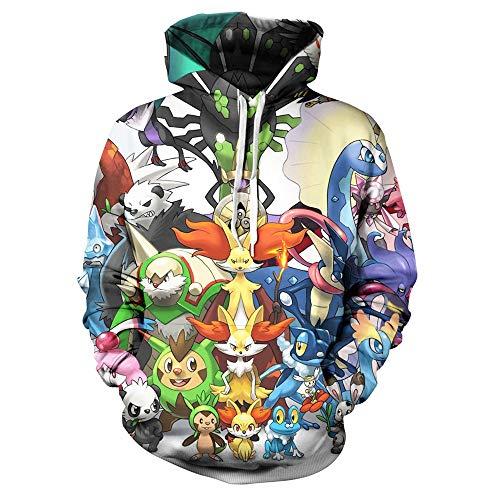 3386c31532 Hombres y Mujeres Unisex 3D Impreso Suéter Pokémon Pikachu Sudaderas con  Capucha Novedad Pullover Colorido Estampado Sudadera con Bolsillos  CordónJersey