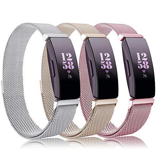 Onedream Kompatibel Fitbit Inspire HR Armband/Fitbit Inspire Armband Damen Herren Band 3 Pack Zubehör Edelstahl Metall Ersatzarmband,S