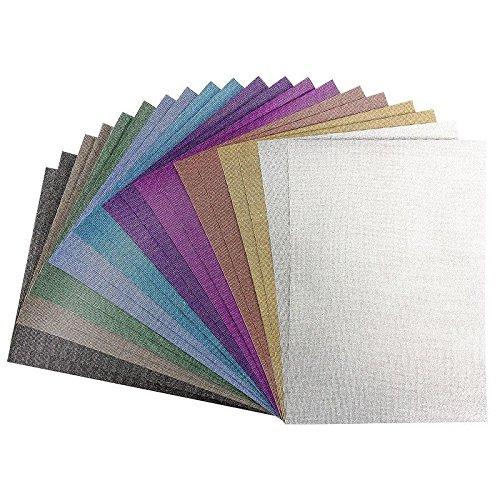 Effekt-Papiere Glitzer-Leinen, DIN A4, 10 verschiedene Farben, 20 Stück -
