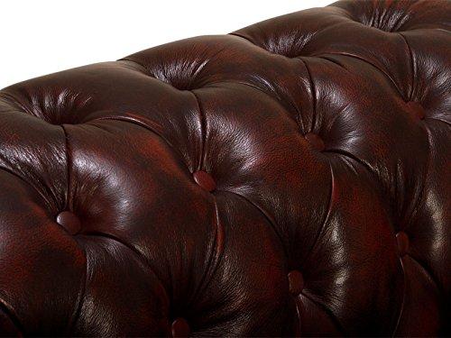 massivum Sofa Chesterfield 218x79x95 cm Echtleder rot - 4
