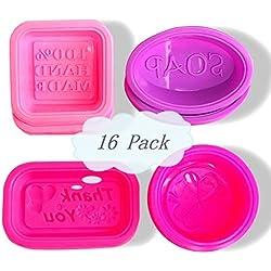 16pcs Moldes de Jabón de Silicona Molde Ovales Redondos Cuadrados Rectángulo, molde de la torta, bandejas de cubitos de hielo moldes DIY - 100% de silicona hecha a mano