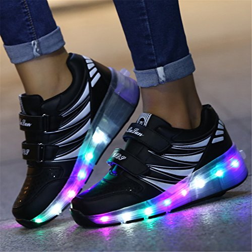 SGoodshoes Led Schuhe Mit Rollen Skateboard Kinder Rollschuhe LED Leuchtet 2 Rädern Sport Turnschuhe Sneakers 7 Farbe Farbwechsel Junge Mädchen Herren Schwarz Einzelrad