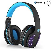 Bluetooth wireless Headset, Yocuby pieghevole Noise Cancelling Gaming cuffie con microfono e luci LED per PS4 PC tablet iPhone iPad Samsung smartphone laptop (nero e blu)