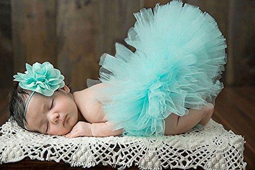Imagen de happy cherry  disfraz trajes de falda tutú y banda de cabeza de flor apoyo de fotografía fiesta cumpleaños para recién nacido bebé niñas de 1 mes, azul claro alternativa
