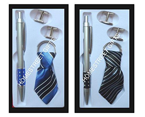 Homestreet Coffret cadeau Porte-clés et boutons de manchette en bleu ou noir – Cadeau idéal pour stylo, bleu, 18x9