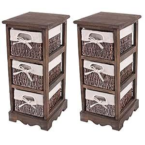 2x commodes /meubles d'appoint / étagères, 3 paniers, 25x28x58cm, shabby, vintage, marron