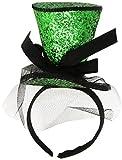 Widmann 0071K - Kleiner Zylinderhut, Glitter auf Einem Stirnreif mit Schleife und Schleier, grün