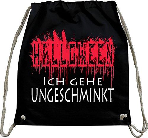 urnbeutel natur Rucksack Halloween - Ich gehe ungeschminkt verkleiden Witzig Beutel Tasche Schwarz ()