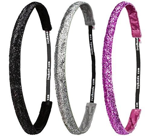 Ivybands ® - Das Anti-Rutsch Haarband | 3-er Pack | Glitter World Edition I | NEU 2017 Schwarz Grau Silber Pink Glitzer | (1,6 cm Breit) IVY753 IVY760 IVY762