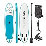 Glory Boards // Fun 10'0'' Stand up Paddling Board Set in Premium Qualität – leichtes Anfänger iSUP – Stabile und Robust – aufblasbares SUP bis 150kg belastbar –Maße 308x76x15cm – (Mint/blau)