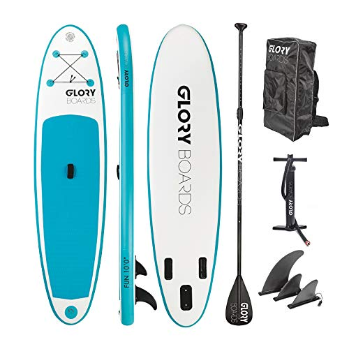 Glory Boards // Fun 10'0'' Stand up Paddling Board Set in Premium Qualität - leichtes Anfänger iSUP - Stabile und Robust - aufblasbares SUP bis 150kg belastbar -Maße 308x76x15cm - (Mint/blau)