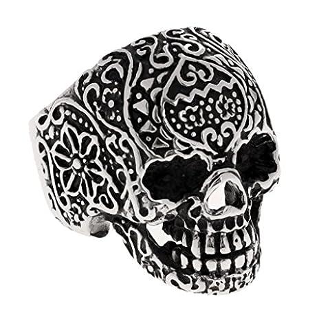 Sharplace Retro Men's Titanium Steel Skeleton Skull Rings Gothic Biker Rocker Punk Rings Size 10 12 - Size