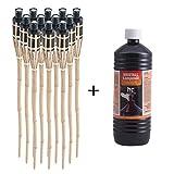 Topgoods 12 x Gartenfackel Bambusfackel 90cm mit 1 Liter geruchsloses Lampenöl hochgereinigt