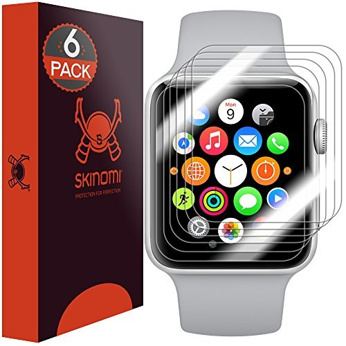 Skinomi TechSkin, Schutzfolie für Apple Watch (38 mm). Kompatibel mit Apple Watch Series 3, Series 2 und Series 1. Wasserdicht, 6er Pack