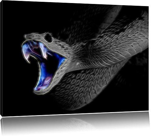 Dark Majestätische Schlange, Natur, USA Bild auf Leinwand, XXL riesige Bilder fertig gerahmt mit Keilrahmen. Kunstdruck auf Wandbild mit Rahmen. Günstiger als Gemälde oder Ölbild, kein Poster oder Plakat , Format:80x60 cm - Schlange Leinwand