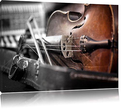 Alte Violine Schwarz/Weiß, Format: 80x60 auf Leinwand, XXL riesige Bilder fertig gerahmt mit Keilrahmen, Kunstdruck auf Wandbild mit Rahmen, günstiger als Gemälde oder Ölbild, kein Poster oder Plakat