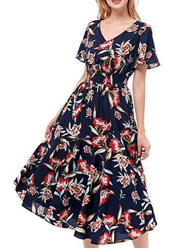 GardenWed Damen Sommerkleider Chiffon V-Ausschnitt Blumen Strandkleider Abendkleid Partykleid Navy Red Flower 3XL (Cocktail Chiffon Kleid)