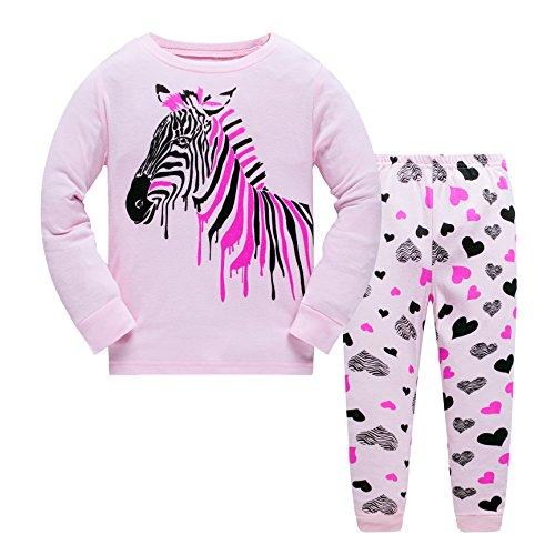 Tkiames Mädchen Schlafanzug Gr. 3-4 Jahre, Pink 4