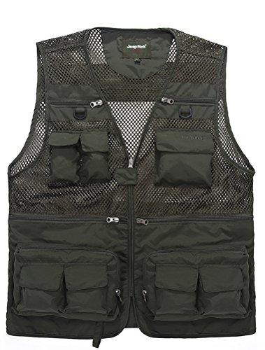 MatchLife Hommes Veste Sans Manches Gilet de Maille Respirant Multi Poches Gilet de Pêche Style1-Armée Verte