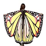 FNKDOR Fasching Kostüm Schmetterling Damen Mädchen Flügel Fee Nymphe Elfen Flügel (168 * 135CM, Gelb-A)