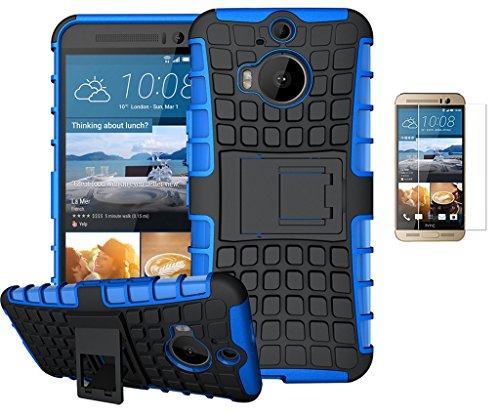 HTC One M9 Plus/HTC One M9+(2015) Hülle +Panzerglas,TPU+PC Ultra Slim Silikon Tough Rugged Dual-Layer Hardcase with Built-in Kickstand Thin Stand Case,Wasserdicht Shockproof Anti Slip Protection Tasche Schutzhüllen für HTC One M9+(2015) 5.2Zoll-[blau]+Panzerglas/Schutzfolie/Displayschutzfolie