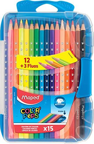Maped - Smart Box de 15 Crayons de Couleurs Color'Peps - Boîte Innovante Ultra Résistante aux Chocs et Compacte - Idéal Rentrée et Fournitures Scolaires - Crayons Ergonomiques en Bois - 3 Fluos Inclus