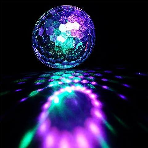 CONMING Bühnenbeleuchtung Selbstangetriebene & Sound Actived Disco Licht Kristall Magic Ball RGB Disco Lichteffekt für Neujahr Geschenk Weihnachtsdekoration Parteien Karaoke Outdoor-Hochzeit