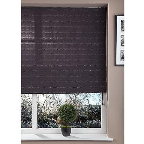 Fabric Roman Shade Window Blind - Cord - Pattern Dark Grey - 80x160cm