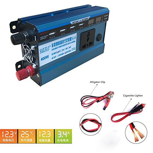 Preisvergleich Produktbild Dauerleistung 400W Spannungswandler Wechselrichter DC 12V auf AC 230V Inverter Kfz Zigarettenanzünder Stecker 4 Anschlüsse USB