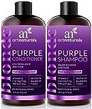 ArtNaturals Shampoo und Conditoner für Blondiertes-Blondes Haar - (2 x 16 Fl Oz/473ml) - Lila Farb-Pflege Set gegen Gelbstich - Purple Shampoo & Conditioner Bleached Hair - Sulfat-frei