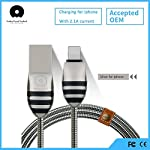 Brand: Digital Dukan Color: Silver About Digital Dukan wuw Steel Rope Series WUW 1.0 M Zinc Alloy 8 Pin Lightning Fast Charging Cable for iPhone 7/6/6S/5/5S/Apple iPad Air/Air 2/iPad Mini/5SE and More Compatible: For Apple iPhone 5/iPhone 6/6S/6Plus/...