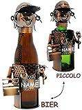 Unbekannt Bier - Flaschenhalter / Flaschenständer - aus Metall -  Handwerker / Heimwerker / Klemptner  - incl. Name - 40 cm - ideal für Piccolo, Wein, Sekt, Bier u.v...