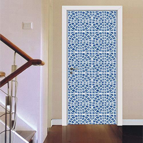 WXZXGL Türaufkleber Tür Aufkleber 3D Kaleidoskop Mediterranen Stil Farbe Blau Fliesen Mosaik Schlafzimmer Holztür Wohnkultur Pasta Dropshipping. Exklusiv. 77 X 200 cm