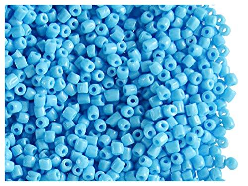Rocailles Preciosa 10 Gramm (ca. 900 Stück) Tschechische Glas DREI-Cuts, Größe 10/0 (2,2mm - 2,4mm), Farbe: Opaque Light Blue