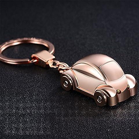 Jobon Mini Beetle Auto elegante portachiavi con SOS torcia in lega di acciaio galvanizzato stesso Cute con Pokemon - Rose Rose Gold Pocket Watch