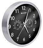 Bresser Wanduhr Mytime Thermo-/ Hygro mit Edelstahlrahmen und lautlosem Quarz Uhrwerk, schwarz