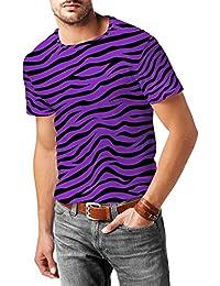 Brillante de cebra morado para hombre mezcla de algodón T-Shirt