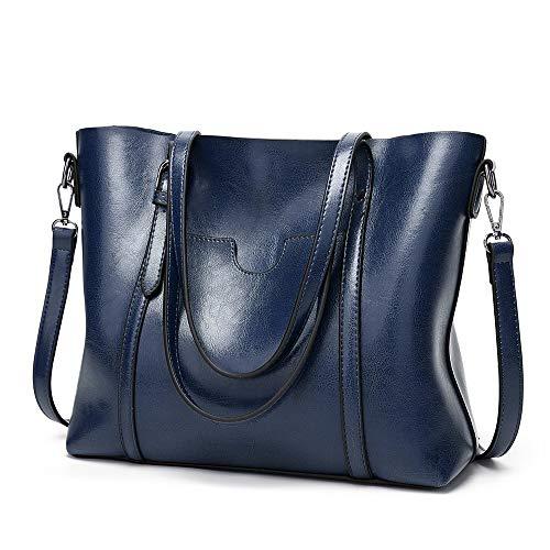 Kieuyhqk Frauen Top Griff Satchel Handtaschen Umhängetasche Messenger Tote Bag Geldbörse Frauen Casual Handtasche Schulter-Handtasche (Color : Dark Blue)