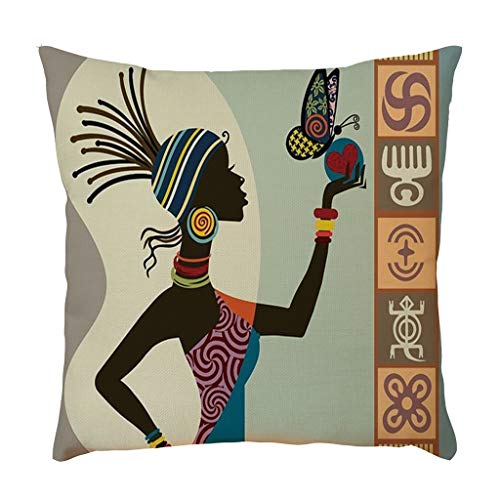 Precioul Leinen Kissenbezug 45x45cm Kissenbezug Retro Muster Dekorative Kissenhülle Baumwolle Leinen Werfen Sie Kissenbezüge Ägyptische Inderin -