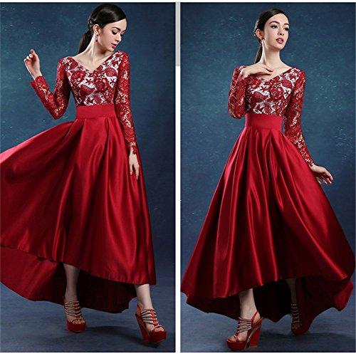 Drasawee Damen A-Linie Kleid Rot