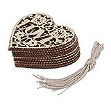 """Switty- Confezione di 10 decorazioni a forma di cuore con scritta in lingua inglese """"Love"""", artigianato in legno da appendere all'albero di Natale, 8 cm x 8cm"""