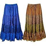 Boho Chic Womens Maxi Skirts Bellydance Full Flare Bohemian Skirt Wholesale 2 Lot