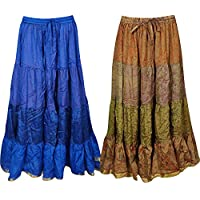 Mogul Interior Boho Chic Womens Maxi Skirts Bellydance Full Flare Bohemian Skirt Wholesale 2 Lot