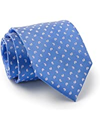 Savile Row Men's Blue Pink Mini Paisley Silk Tie