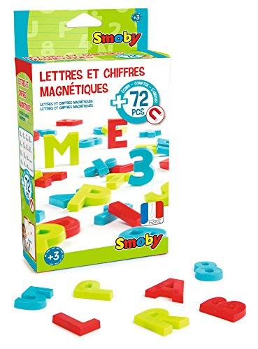 Smoby Toys, 430102, 72 Lettres et Chiffres Magnétiques, 24 Lettres coloris rouge, 24 Lettres coloris vert, 24 Chiffres et Signes Coloris Bleu 3032164301027