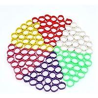 Anelli per zampe di volatili, 120 pezzi, per galline e anatre, anelli a clip, in 6colori