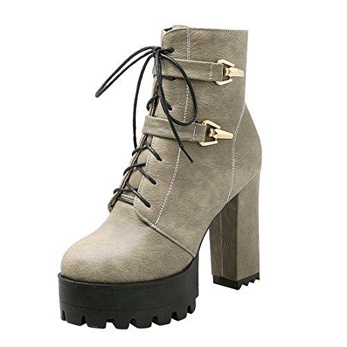 YE Damen Chunky Heels Ankle Boots High Heels Plateau Stiefeletten mit Schnürung und Schnalle...
