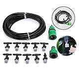 KING DO WAY Kit Irrigazione a Goccia Irrigatori Micro Goccia Sistema Irrigazione Vaporizzatore Impianto Ugelli Spruzzatore Nero 10m